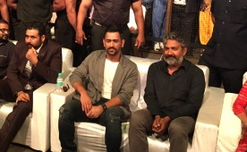 India's limited overs skipper Mahendra Singh Dhoni, Director SS Rajamouli at M.S. Dhoni: The Untold Story Telugu Audio Launch in in Hyderabad.