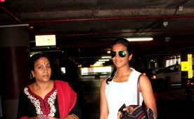 Silver winner of Rio Olympics 2016 PV Sindhu and Neha Dhupia spotted at Mumbai International Airport.
