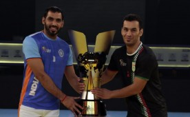 India fought off a tough challenge from Iran to win their third successive Kabaddi World Cup here on Saturday. In perhaps the most exciting match of this World Cup, the Indians overturned a first-half deficit with a superb second-half performance to win 38-29.