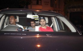 Bollywood actor Varun Dhawan and Sidharth Malhotra spotted at Karan Johar's house.