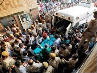 The minor rape victim being moved to the All India Institute of Medical Sciences hospital from Swami Dayanand hospital