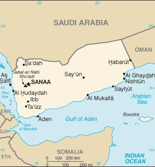 Map of Yemen bordering with Saudi Arabia