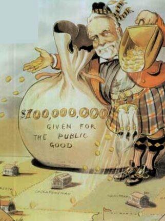 Andrew Carnegie's philanthropy. Puck magazine cartoon by Louis Dalrymple, 1903