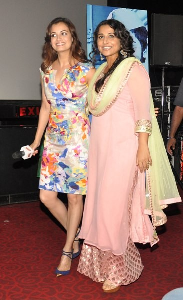 Vidya Balan and Dia Mirza at the Trailer lauch of film 'Bobby Jasoos' at an event in PVR, Juhu, Mumbai