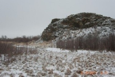 The burial mound in Montana where the skeleton was found.
