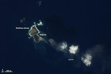 Japan's Volcanic Island, Niijima Swallows Its Neighbor (Earth Observatory, NASA)