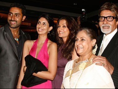Amitabh Bachchan, his wife Jaya, son Abhishek, daughter-in-law Aishwarya and daughter Shweta. Reuters