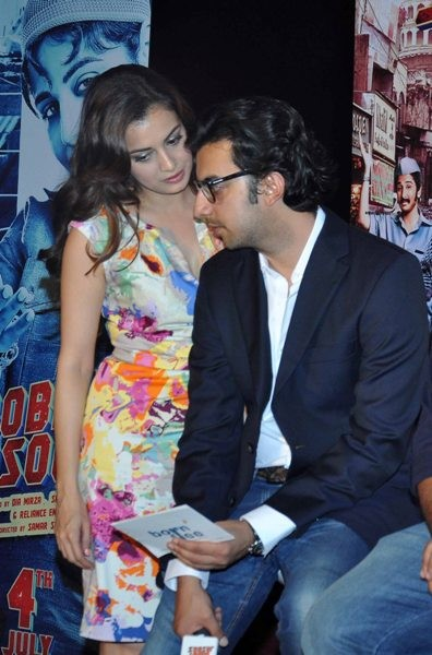 Dia Mirza with her fiance Sahil Sangha at the ttrailer launch of film 'Bobby Jasoos' at an event in PVR, Juhu, Mumbai