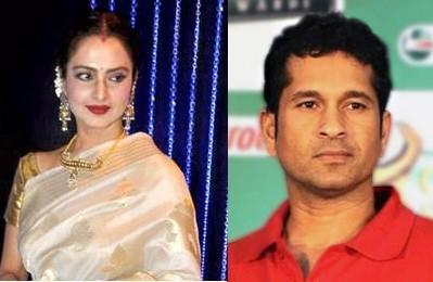 Bollywood diva Rekha and Cricket legend Sachin Tendulkar