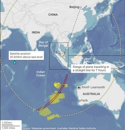 The projected flight trajectory of the missing Malaysia Airlines flight MH370, shown by an arc, could have been a mistake. (Photo: Australian Maritime Safety Authority)