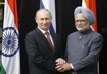 President Vladimir Putin with Prime Minister Manmohan Singh during his visit to India in 2012
