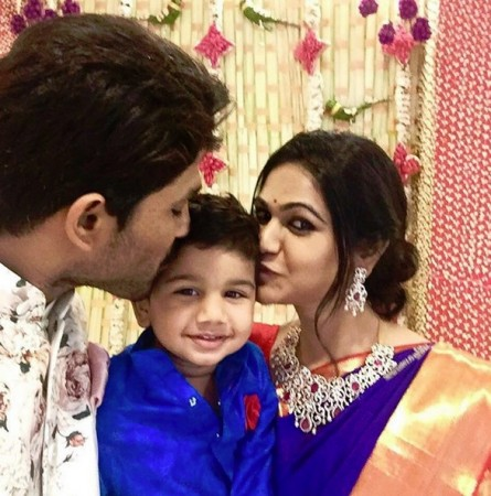 ... daughter. Pictured: Allu Arjun and his wife Sneha Reddy with son Ayaan