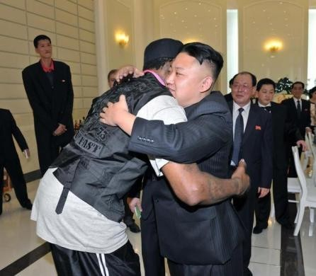North Korean leader Kim Jong-Un and former NBA basketball player Dennis Rodman hug in Pyongyang in this undated picture released on March 1, 2013. REUTERS