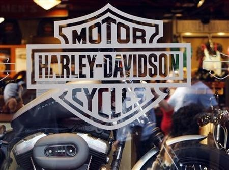 Motorcycle maker Harley Davidson's logo appears on the window of a store in Boston, Massachusetts July 17, 2008