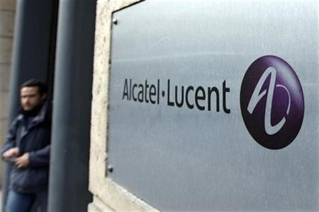 The logo of Alcatel-Lucent is pictured at the entrance of its Paris headquarters