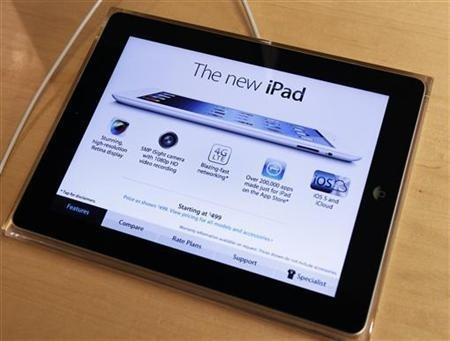 Apple's newest iPad is seen at the 5th Avenue Apple Store in New York March 16, 2012.
