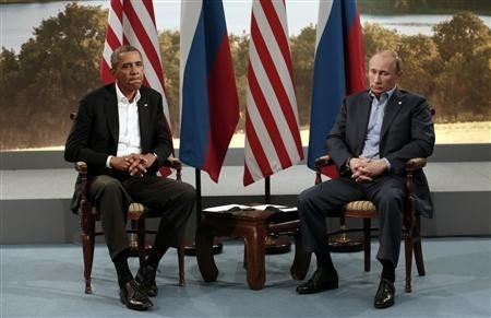 U.S. President Barack Obama (L) meets with Russian President Vladimir Putin during the G8 Summit at Lough Erne in Enniskillen, Northern Ireland June 17, 2013.