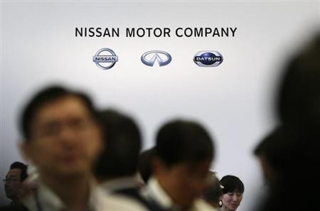 Nissan Motor Company's logo is seen at a reception with shareholders after the general shareholders' meeting in Yokohama, south of Tokyo, June 25, 2013.