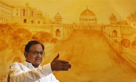 Finance Minister Palaniappan Chidambaram speaks during an interview with Reuters in New Delhi October 7, 2013.