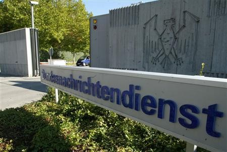 File picture shows the main entrance of Germany's intelligence agency Bundesnachrichtendienst (BND) headquarters in Pullach, about 15 kilometres south of Munich, October 17, 2003.