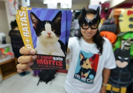 A woman holds photographs of Morris the Cat in a store in Xalapa, capital of the state of Veracruz, June 13, 2013.  REUTERS/Oscar Martinez