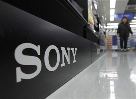 A Sony logo is pictured at an electronic shop in Tokyo