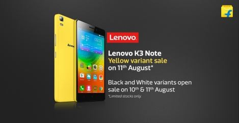 Lenovo K3 Note Open Sale Goes live in India; Limited Edition Yellow Variant to go on Sale on 11 August