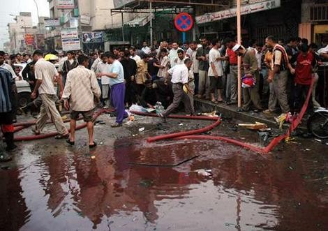 Sunni militants have often targetted the Shia pilgrims in Karbala. The image shows an aftermath of the 2004 bomb attack in the city of Karbala.