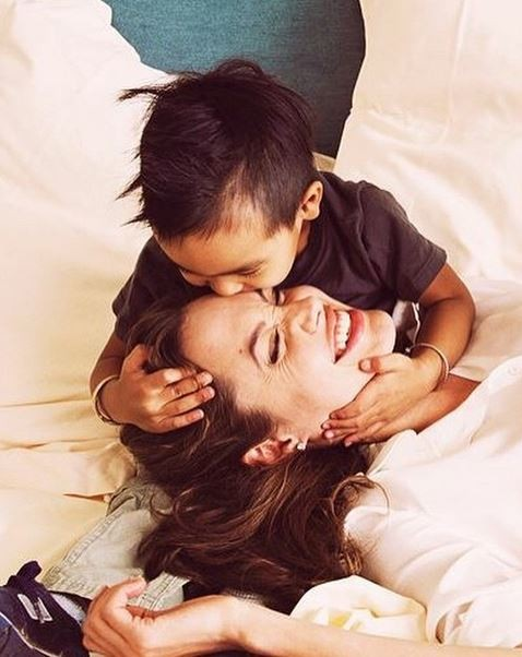 Angelina Jolie feeling loved.