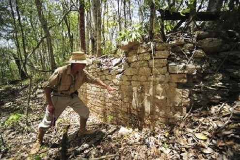 Remains of a building at the newly discovered ancient Maya city Chactun
