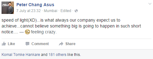 ASUS India Country Manager Peter Chang also tipped about some upcoming launch