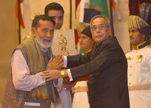 Chandi Prasad Bhatt Receiving Gandhi Peace Prize from The President