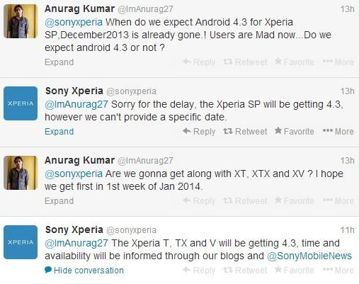 Sony Xperia Smartphones Android update delay reply