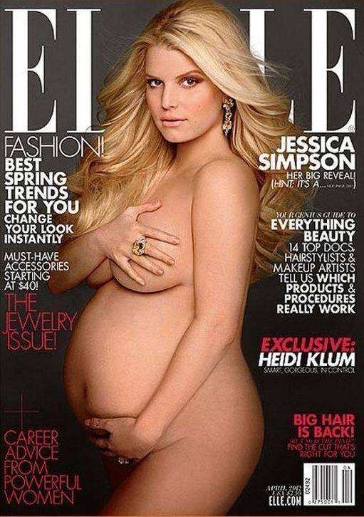 After posing nude on the cover of Elle Magazine, Simpson has been censored. A shopper took a picture of the magazine with a piece of cardboard covering Simpson's breast and belly.