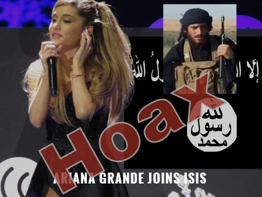 Report claiming that American singer and actress Ariana Grande has joined Isis is a hoax