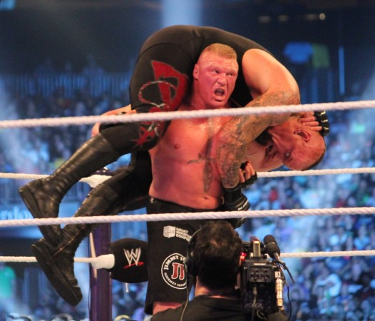 Brock Lesnar during a fight with the Undertaker in WWEWikimedia Commons  Megan Elice Meadows