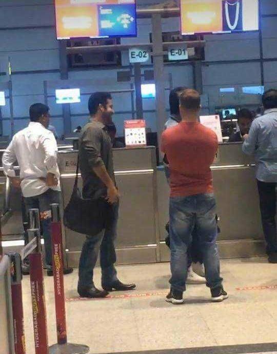Ram Charan,NTR,Ram Charan and NTR,Ram Charan Teja,NTR,Jr NTR,Ram Charan and Jr NTR,Jr NTR at airport,Ram Charan at airport,SS Rajamouli