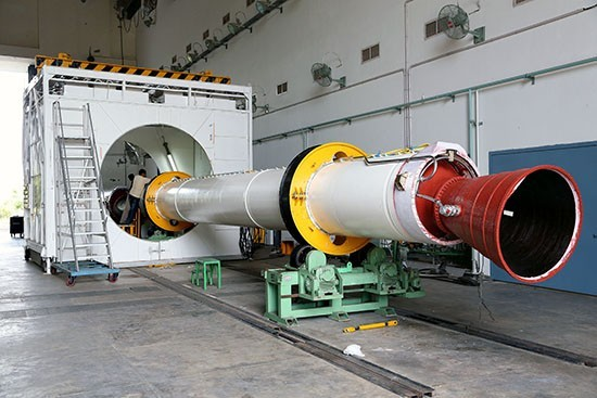 6 Preparation of one of the strap-ons before integration with PSLV-C25