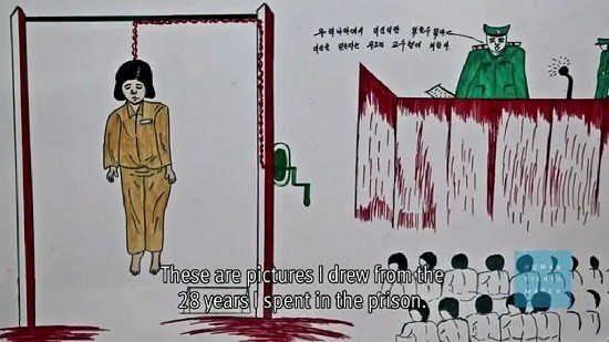 Paintings by a former North Korean Prisoner/Human Right Watch Videograb