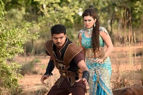 Hansika Motwani with Vijay in 'Puli'