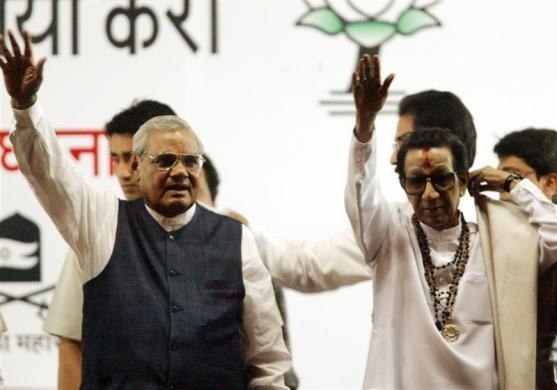 Atal Bihari Vajpayee and the late Bal Thackeray (Reuters file photo)