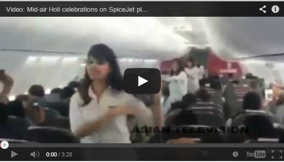 Spice Jets mid-air Holi celebration and dance video