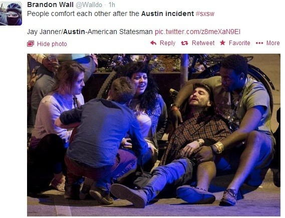 Screen shot of a twitter pic: An alleged drunk driver plowed through a crown of music fans at Austin's annual SXSW music festival, killing two people and injuring 23.