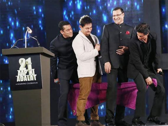 Salman Khan, Shah Rukh Khan and Aamir Khan with Rajat Sharma on 'Aap Ki Adalat'