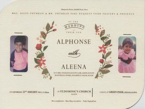 Alphonse puthren wedding card,alphonse puthren aleena mary antony wedding card,aleena mary antony,alphonse puthren aleena mary antony