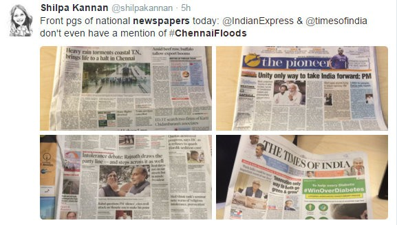 Coverage of Chennai floods in national dailies.