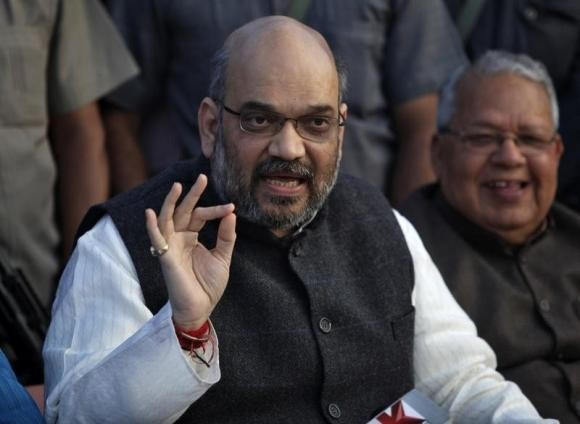 Amit Shah, a leader of Bharatiya Janata Party (BJP), speaks during a news conference in Lucknow March 1, 2014. P