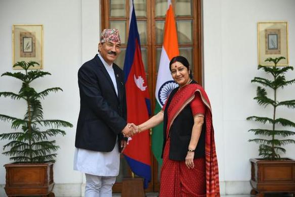 Sushma Swaraj and Kamal Thapa