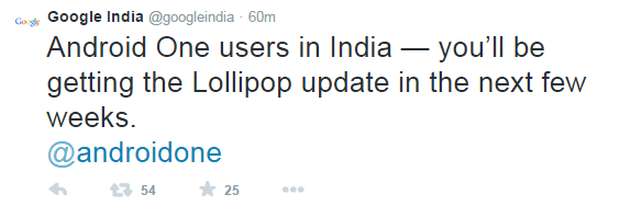 Google India Tweet regrading Android L Update confirmation