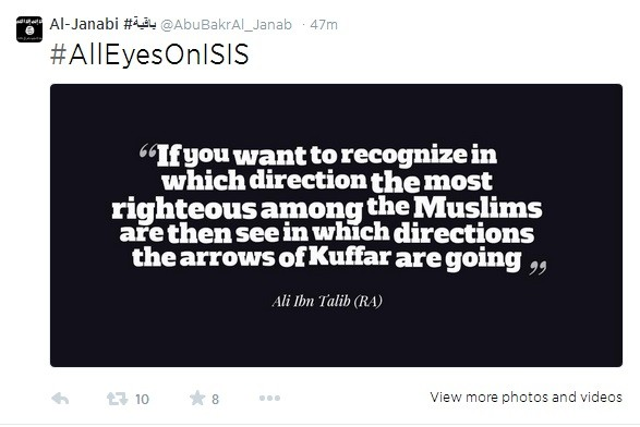 Jihadists are storming Twitter with ISIS propaganda ideas on Friday with the hastag #AllEyesOnIsis.